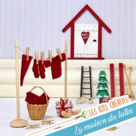 kit diy creatif enfant noel maison porte lutin noel