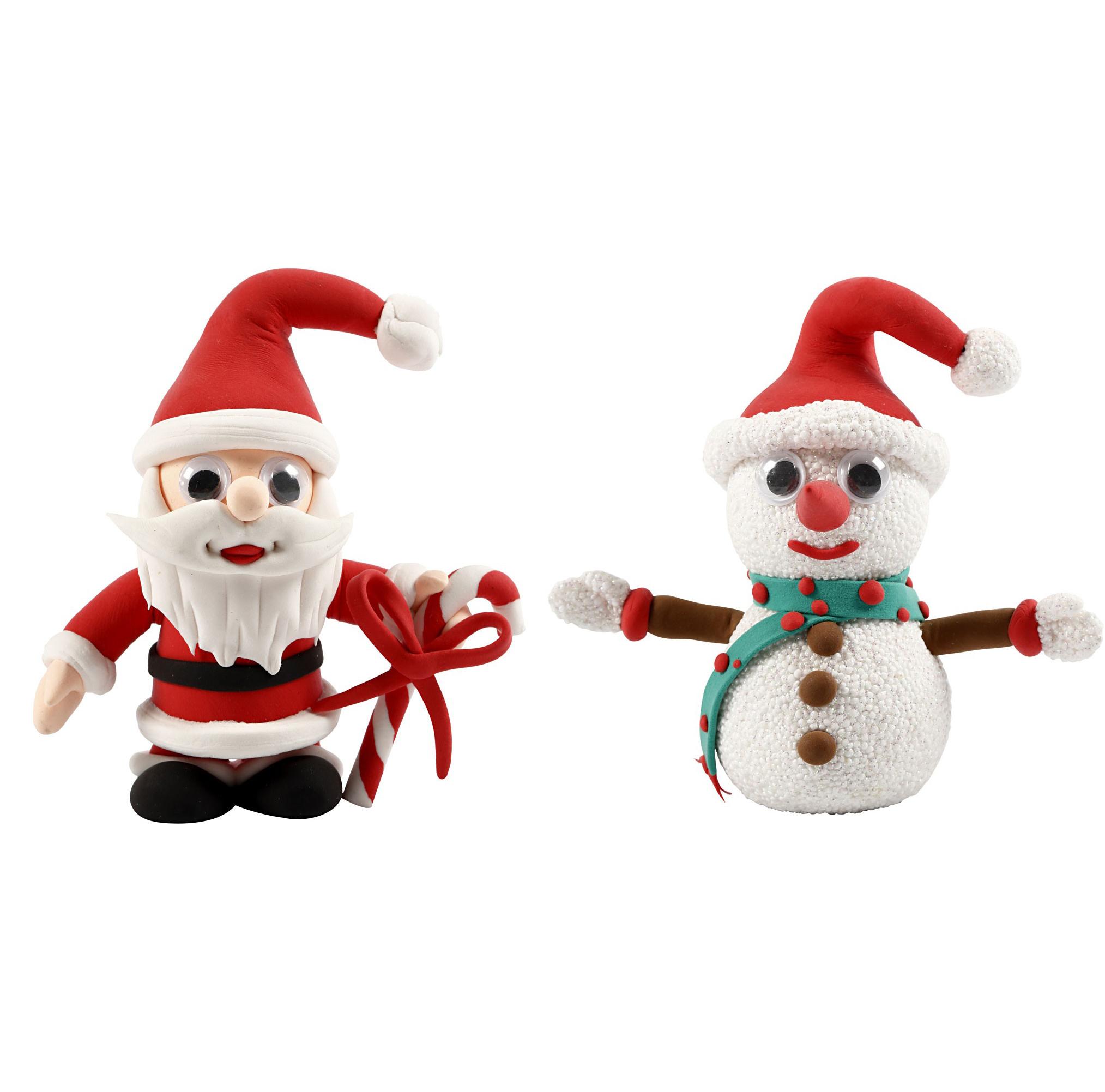 Kit créatif pâte à modeler autodurcissante personnages de Noël - Les récréations créatives