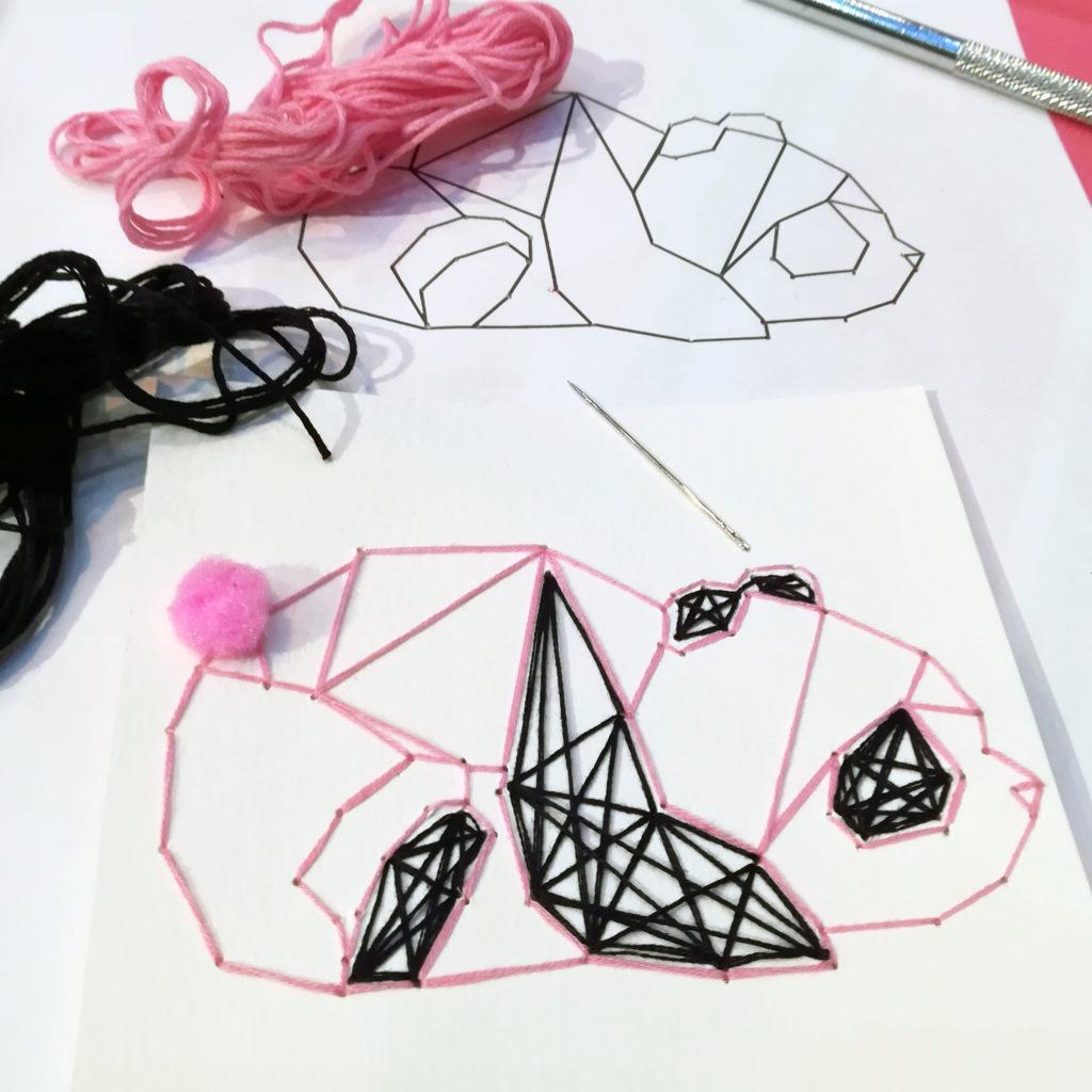 atelier creatif carte brodee panda