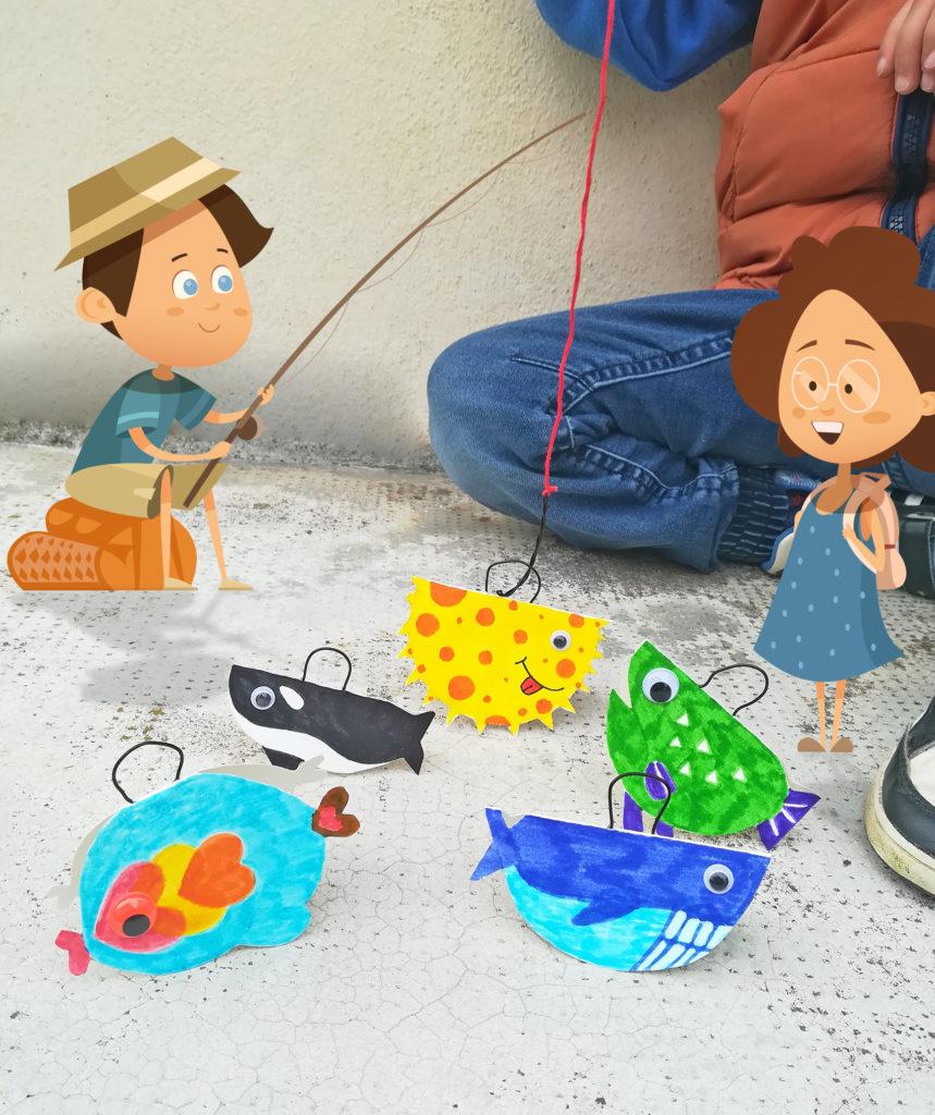 diy bricolage enfant peche aux canard poissons