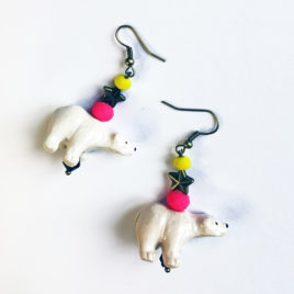 boucles oreille feerique animal totem ours
