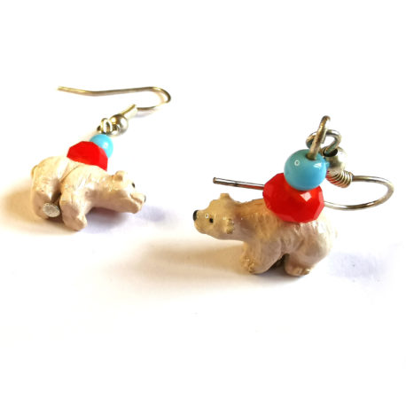 boucles oreilles createur animal totem boheme ours polaire perle