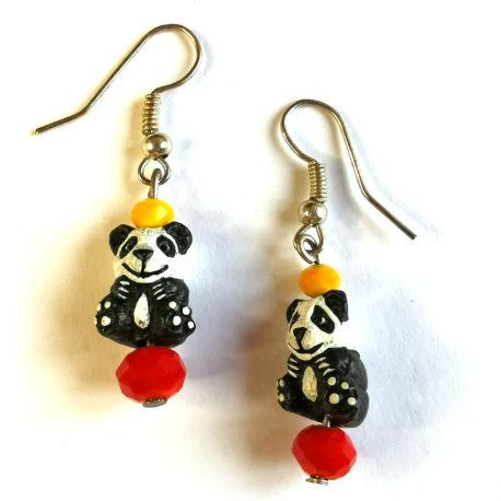 boucles oreilles createur animal totem boheme panda etoile perle