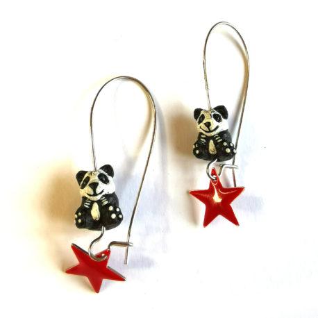 boucles oreilles createur animal totem boheme panda etoile rouge