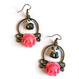 Boucles d'oreilles animal totem pandas et roses