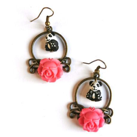 boucles oreilles createur animal totem boheme panda rose