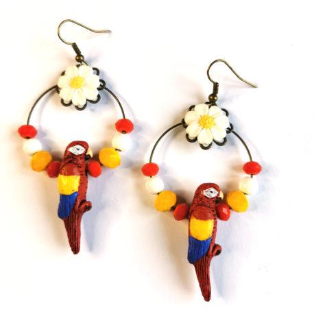 boucles oreilles createur animal totem boheme perroquet