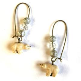 boucles oreilles createur animal totem boheme petit ours polaire