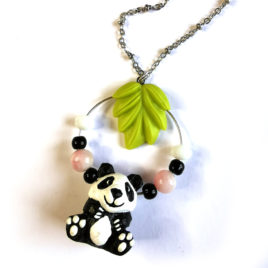 collier fantaisie createur animal totem boheme panda kawaii
