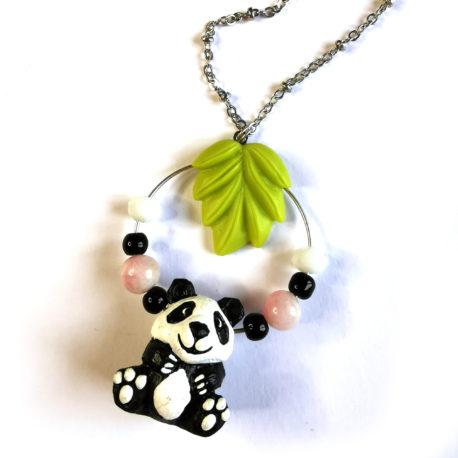 collier fantaisie createur animal totem boheme panda kawaii