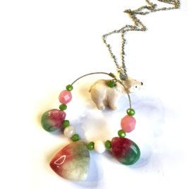 sautoir bijoux fantaisie createur boheme boho chic ours polaire