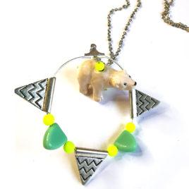 sautoir bijoux fantaisie createur boheme pop ours blanc