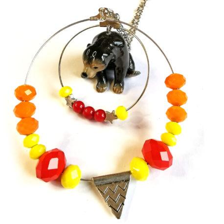 sautoir tribal bijoux fantaisie createur animaux tribal totem ours brun