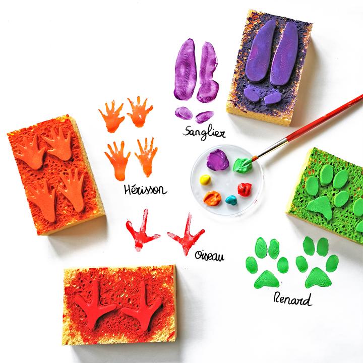 empreinte trace animaux diy fabriquer tampon eponge maternelle primaire art visuel ief